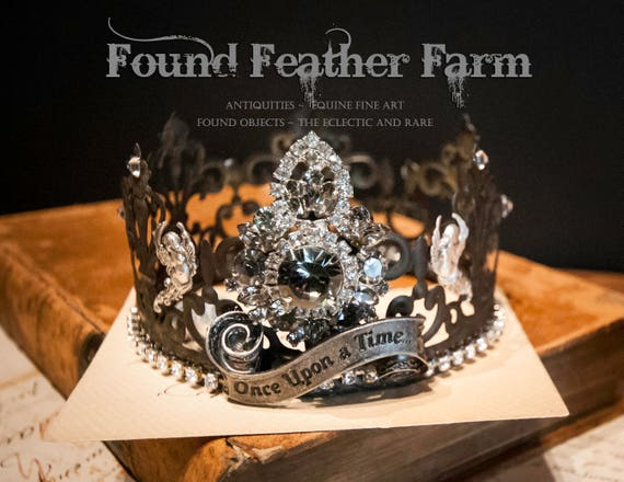 Spectacular Handmade Fairytale Tin Crown Embellished with Vintage Jewels