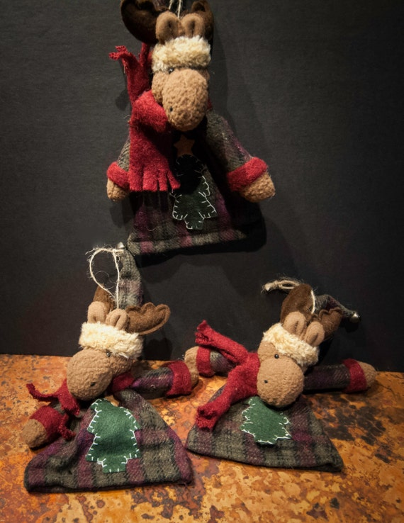 Set of Three Whimsical Fabric Moose Holiday Ornaments