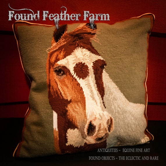 "Handmade 20"" x 20"" Wool Needlepoint Pillow of a Paint Horse with Down Fill"