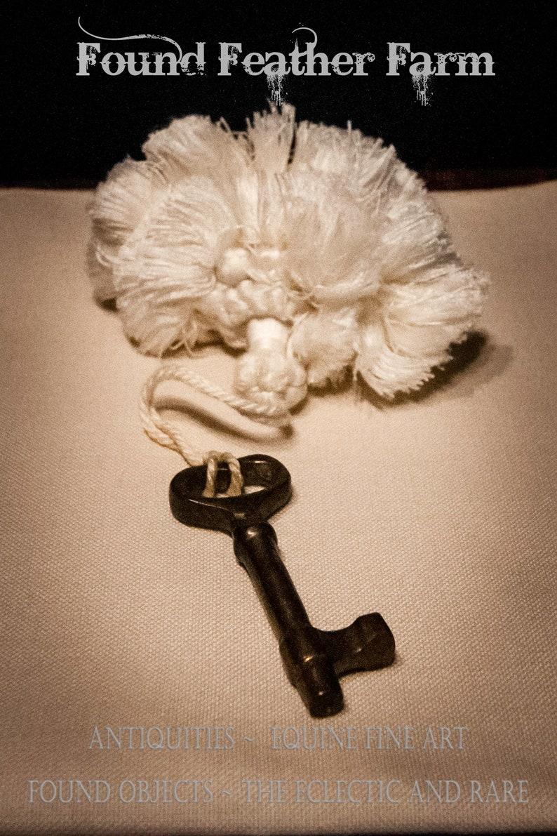 Vintage Soft Creme Key Tassel with Brass Skeleton Key