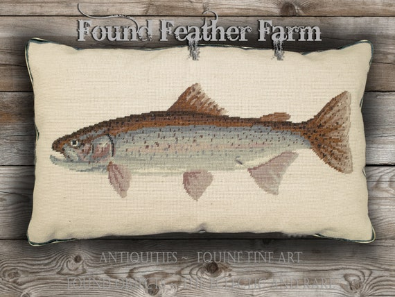 Handmade Needlepoint Rainbow Trout Fish Pillow with a Down Insert