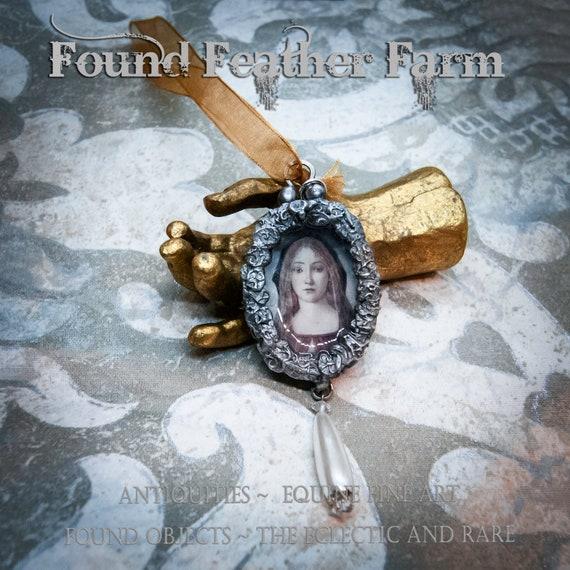 Handmade Gilded Solder Madonna Pendant or Ornament