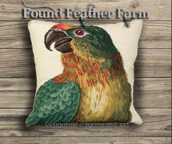 Handmade Colorful Parrot (Looking Left) Needlepoint Pillow with Goose Down Insert