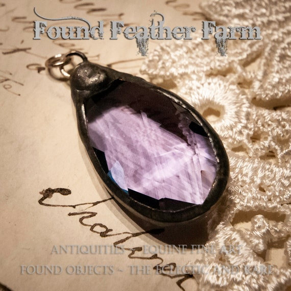 A Gorgeous Light Amethyst Teardrop French Crystal Soldered Pendant