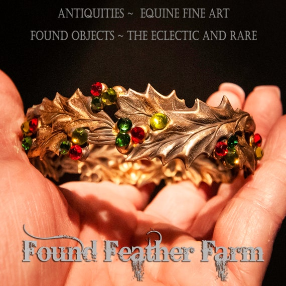 Handmade Ginger Brass Crown with Sparkling Jeweled Holly Berries