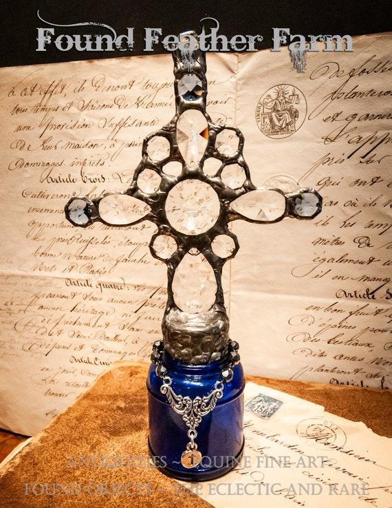 Gorgeous Handmade Cobalt Blue Cross Bottle with a Hematite Czech Bead Chain and Sterling Silver Cross