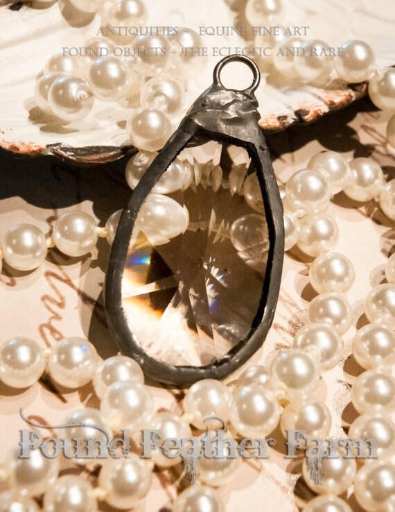 Handmade Large Soldered Crystal Pendant, Bohemian Jewelry Pendant