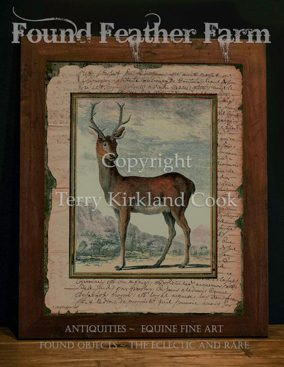 "The Red Stag ~ Original Vintage Art Collage 20"" x 24"" Framed Giclee Print"
