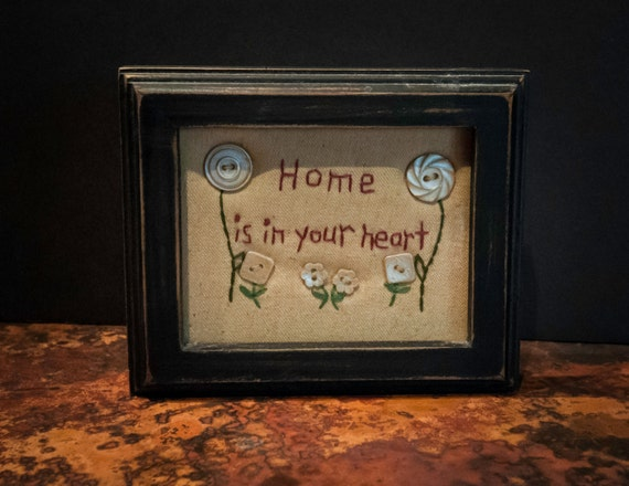 Vintage Handmade Stitchery in Black Frame