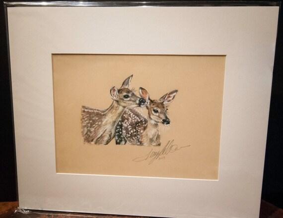 "Fine Art Giclee Print by Terry Kirkland Cook ""Twin Fawns"""