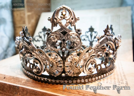 Beautiful Handmade Crown with Silver Embellishments and Vintage Rhinestones