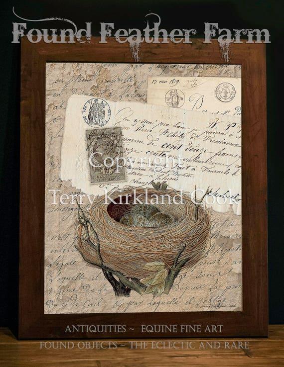 "Nest Eggs ~ Original Vintage Art Collage 20"" x 24"" Framed Giclee Print"