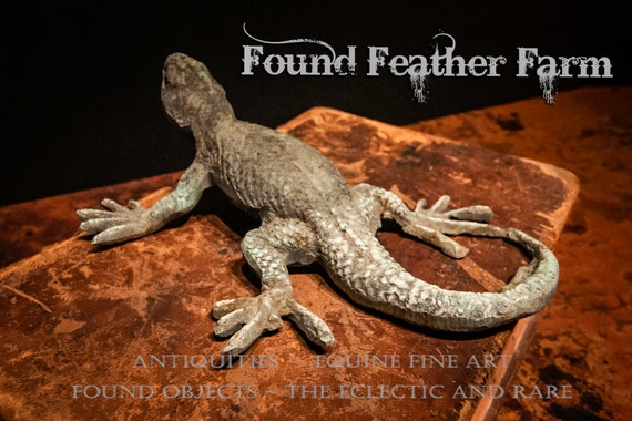 Handmade Solid Bronze Lizard with an Oxidized Green Patina