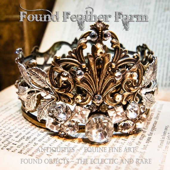 Stunning Handmade Crown of Rare Vintage French Brass Banding and Embellished with Vintage Rhinestones and Silver Leaf Flourishes