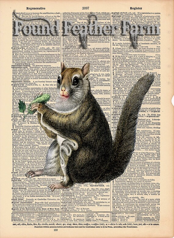"""Vintage Antique Dictionary Page with Antique Print """"Squirrel"""""""