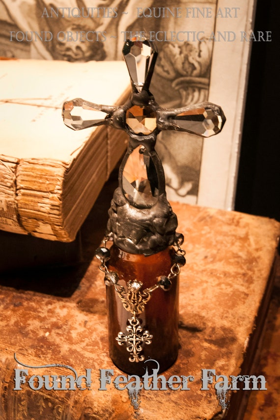 Handmade Glass Cross Bottle With a Late 1800's Antique Glass Bottle Base and Vintage European Crystals