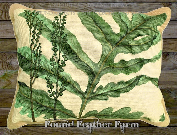"Handmade Wool 20"" x 16"" Needlepoint Pillow of a Beautiful Forest Fern Specimen with Down Fill"