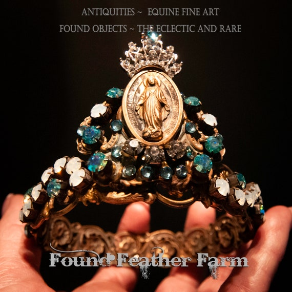 A Gorgeous Handmade Crown Featuring a Crowned Madonna and Sparkling Czech Turquoise and Opal Rhinestones