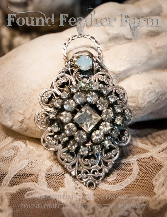 Handmade Jewelry Pendant with Vintage Jewelry, Rhinestones and Nickel Silver Lace Details