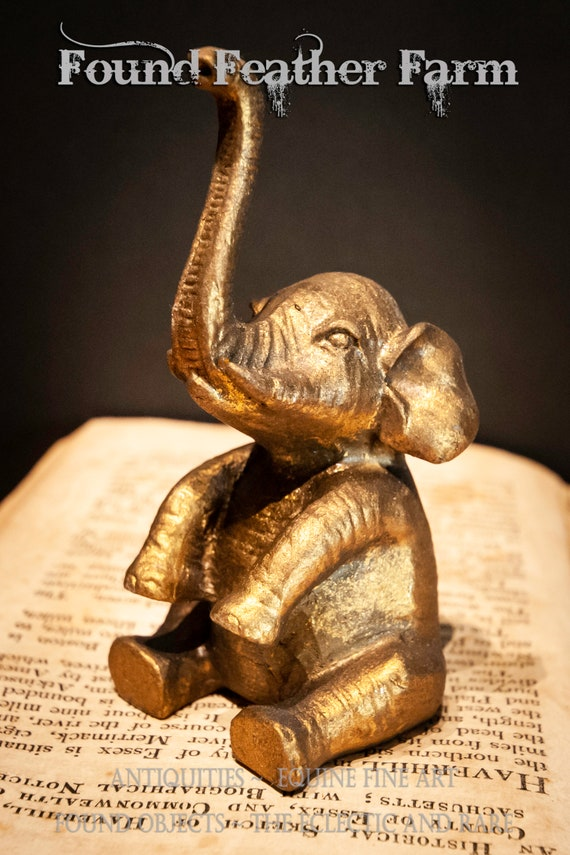 Pewter Gold Leaf Elephant Statue Paperweight