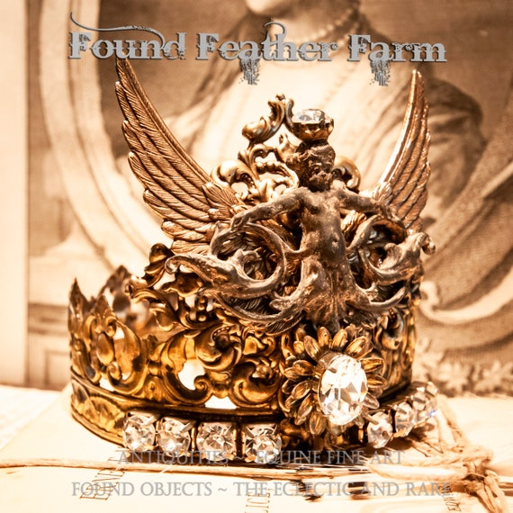 Handmade Ginger Brass Crown with Ornate Brass Wings, Brass Repousse Details and Sparkling Rhinestones