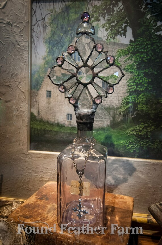 Handmade Glass Cross Bottle with an 1890's Antique Glass Barinet Glass Bottle Base