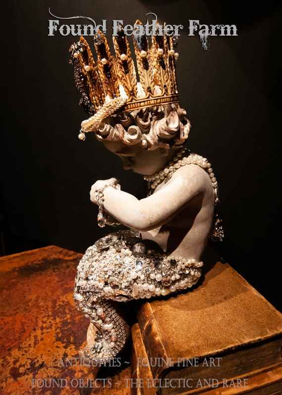 SOLD on Layaway to Pamela ~ Spectacular Handmade Mermaid Statue Embellished in Rhinestones and Pearls With Silver Ocean Charms and Crown