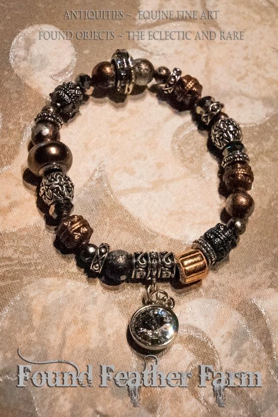 Handmade Stretch Copper and Silver Beaded Bracelet with a Sparkling Swarovski Crystal Charm