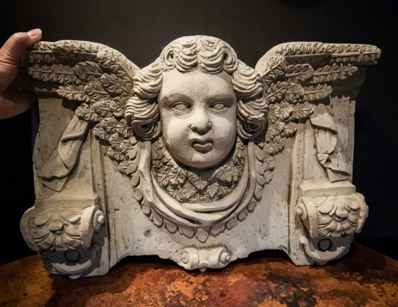 Fabulous Vintage Stone Architectural Angel Wall Pediment