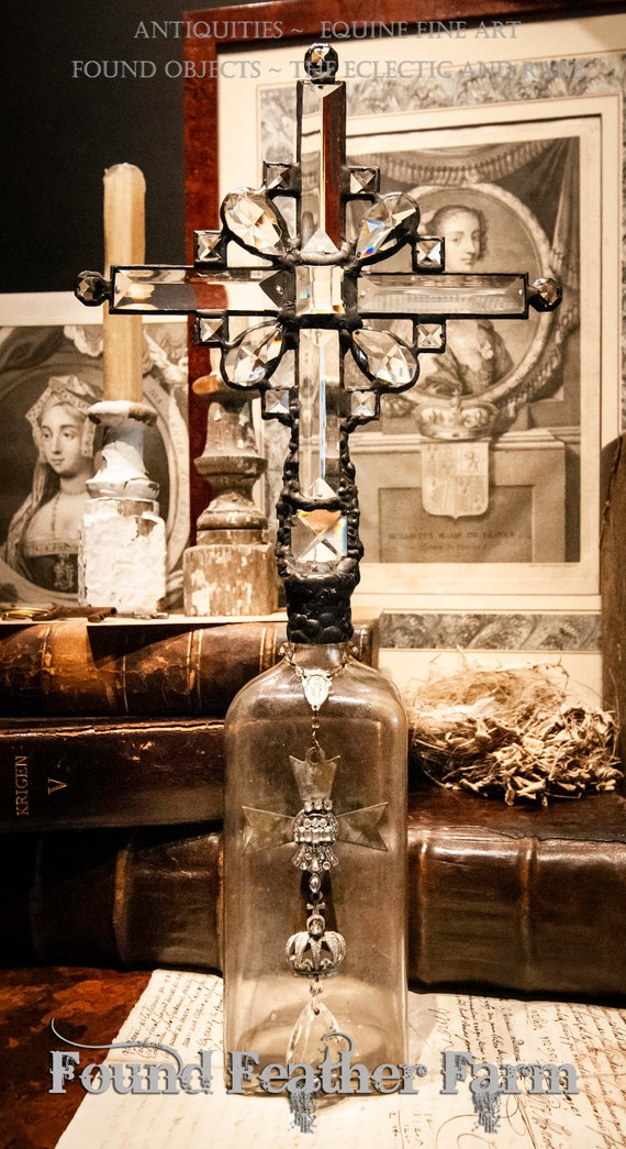 Handmade Glass Cross Bottle with a Century Old Milky Glass Antique Bottle Base