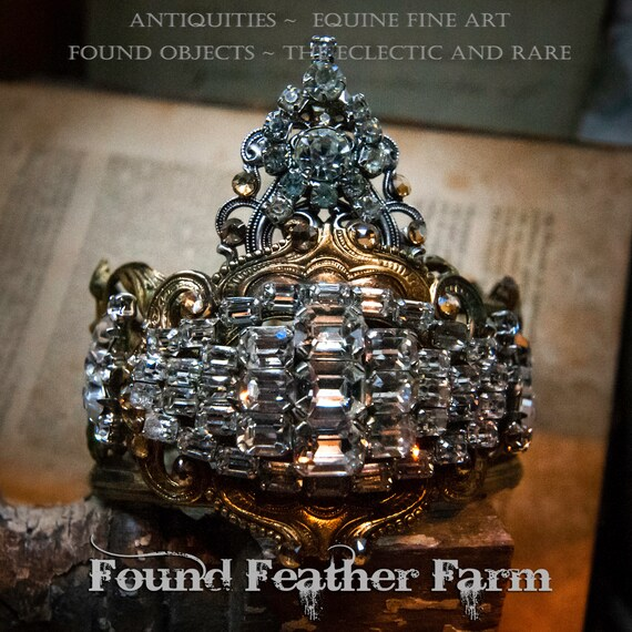 Stunning Handmade Crown of Rare Vintage French Brass Banding and Embellished with Vintage Rhinestones