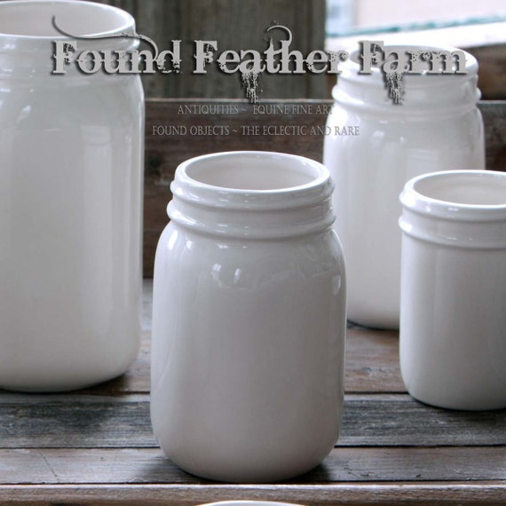 Vintage inspired Creamware Pint Jar with Lovely Coloring of Fresh Milk