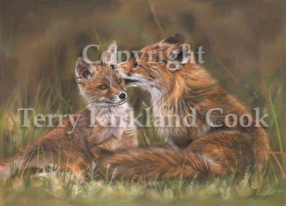 The Tender Nudge ~ Fine Art Giclee Print of an Original Copyrighted Painting by Terry Kirkland Cook