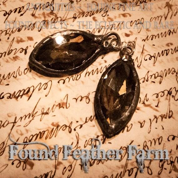 Handmade Soldered Silvered Honey Crystal Pendant with Pewter Wash and Single Rhinestone Jewel