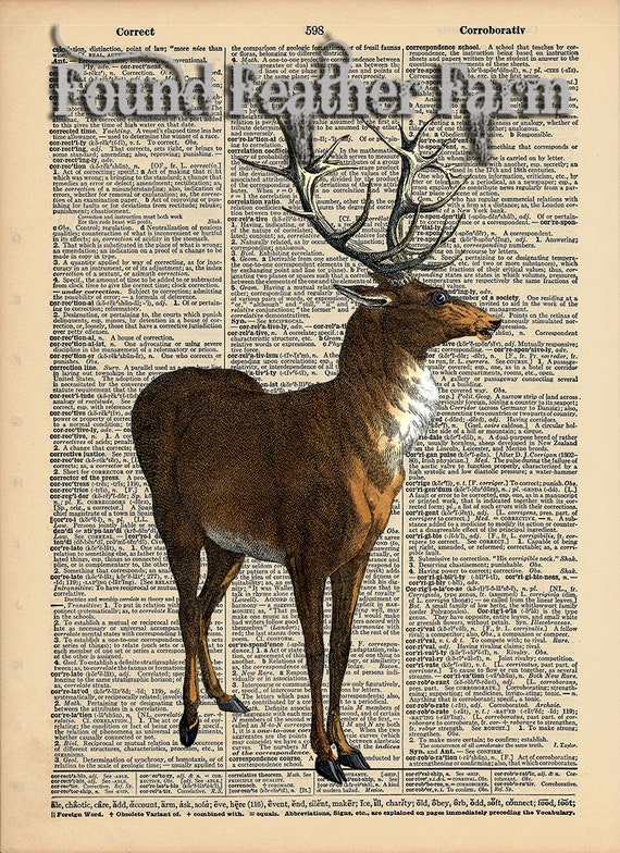 """Vintage Antique Dictionary Page with Antique Print """"Red Stag"""""""