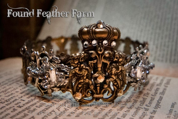 Handmade Brass Crown with Brass Lion Crest Detail and Vintage Rhinestone Jewels