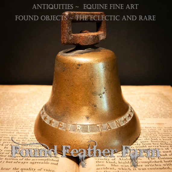 Beautiful Bronze Antique Colonial Puritan Cow Bell Stamped with Foundry Date and Stars