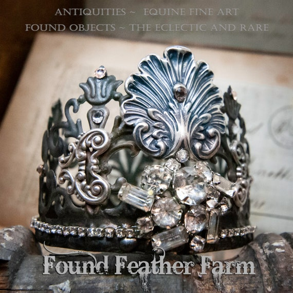 Beautiful Handmade Crown Embellished with Vintage Rhinestone Jewels and Silver Findings