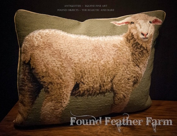 Handmade Wool Needlepoint Pillow of an English Lamb with Down Fill