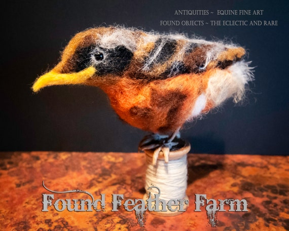 Handmade Needlefelted Baby Robin on An Antique Wooden Threadspool