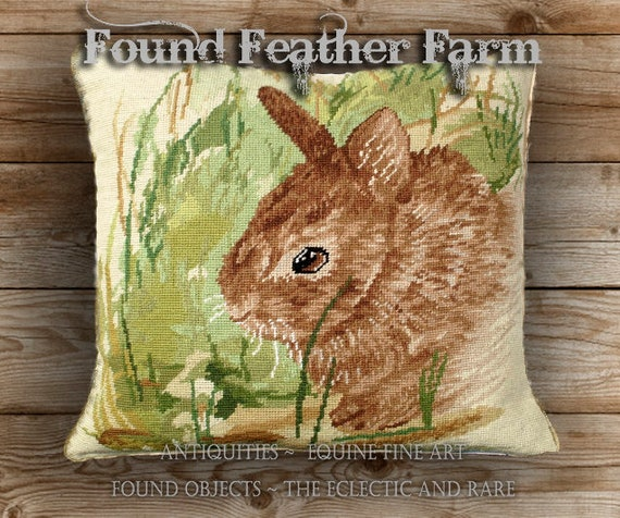 Handmade Wool Needlepoint Pillow of a Baby Bunny with Down Fill