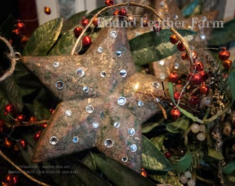 Handmade Handpainted Gilt Wooden Mache Christmas Tree Jeweled Stars