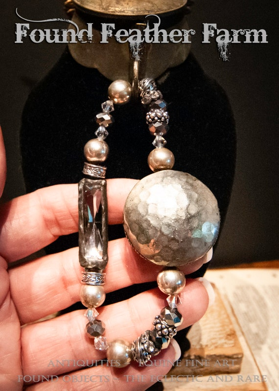 Handmade Czech Glass Beaded Bracelet with Soldered Silvered Crystal and Hammered Silver Disc