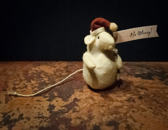 Vintage Be Merry Christmas Mouse Ornament