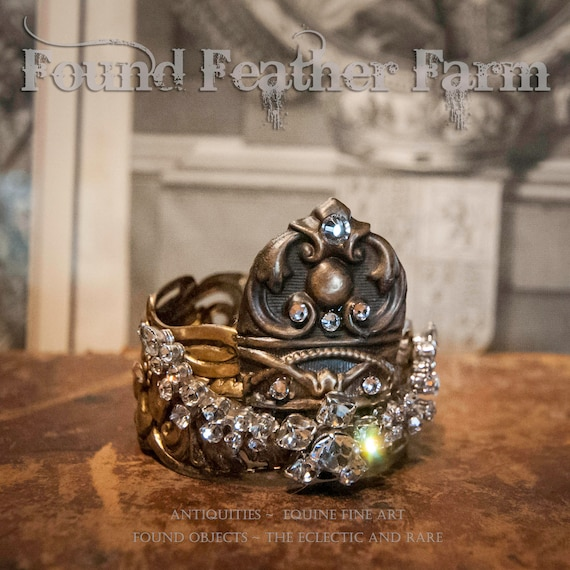 Handmade Ginger Brass Crown with Sheild and Vintage Jeweled Brooch