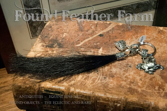 Black Horsehair Tassle Key Ring with Pewter Charms and Hearts