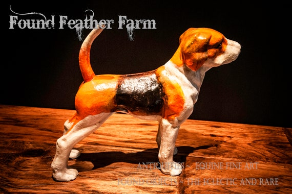Vintage Inspired Handpainted Iron Hunting Dog Bank