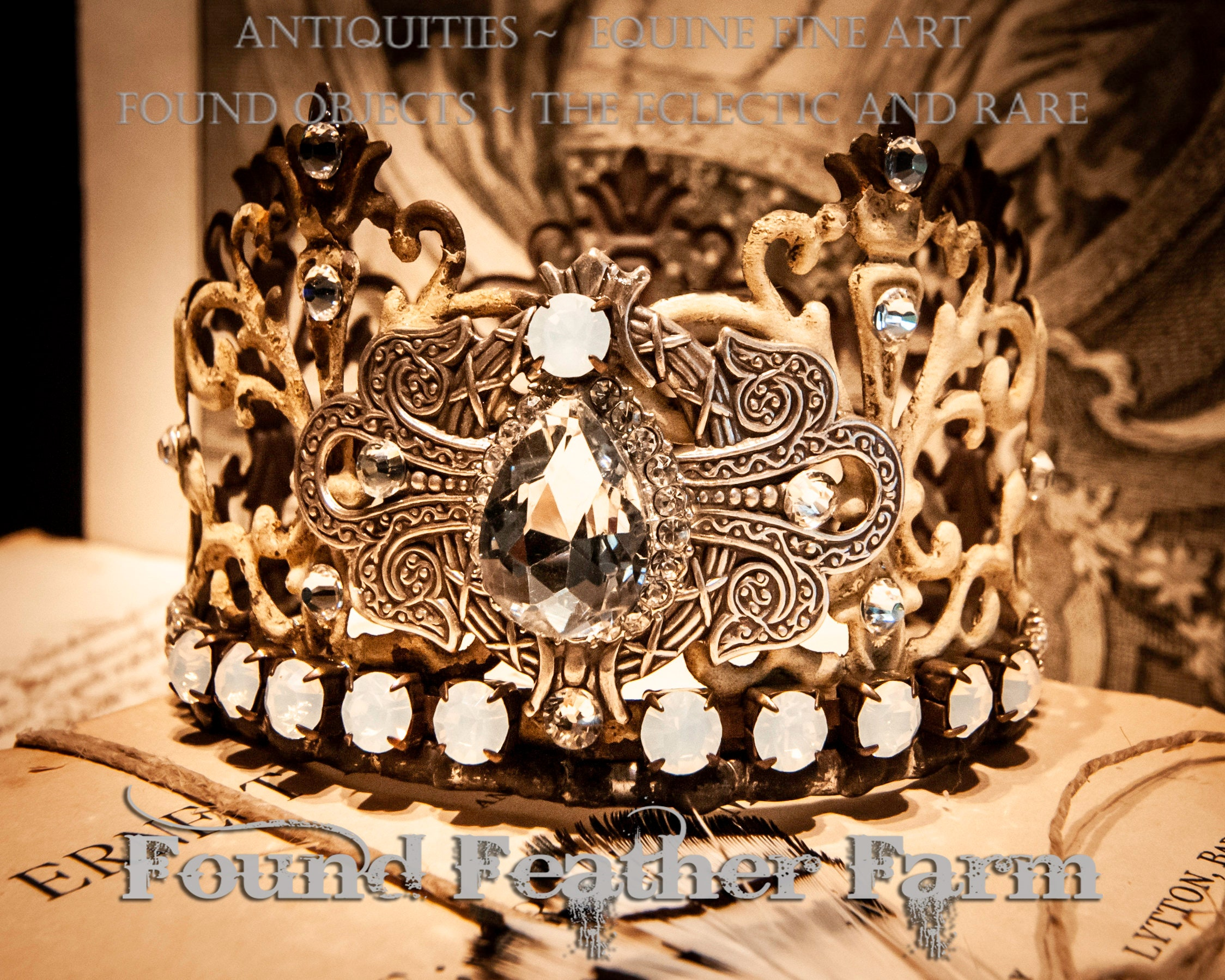 Beautiful Handmade Painted Small Metal Lace Crown Embellished with Vintage Rhinestone Jewels and Silver Findings