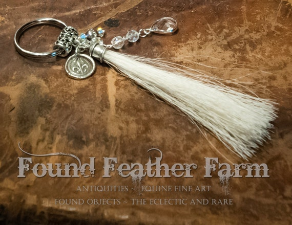 Handmade Horsehair Tassel Key Ring with Sterling Silver Charm, Crystals and Beads