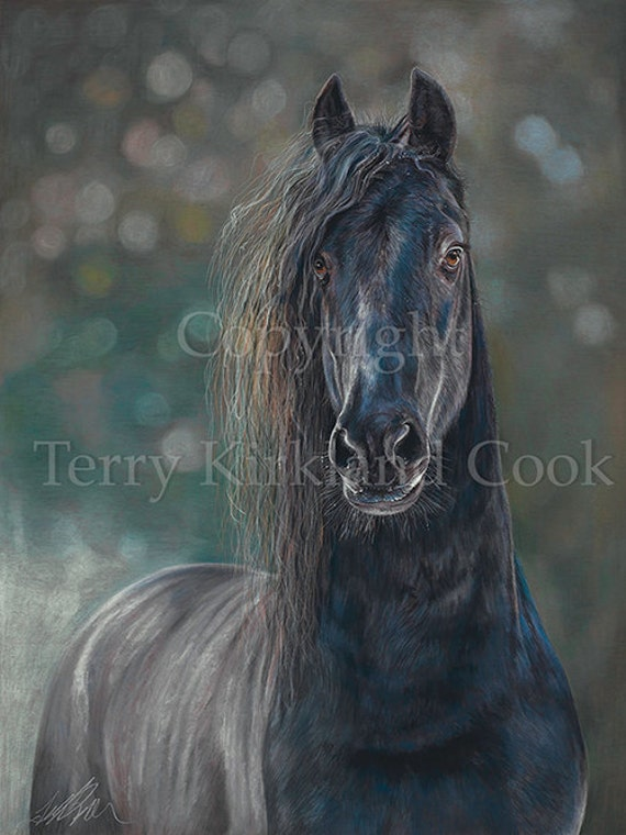 The Blue Horse  ~ Fine Art Giclee Print of an Original Copyrighted Painting by Terry Kirkland Cook